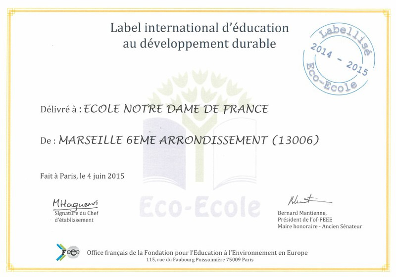 Label Eco-Ecole 2015